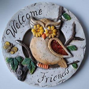 Welcome friends owl garden ornament